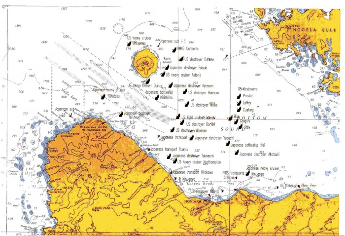 Solomon Islands - War Ships Map